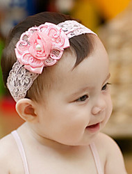 Kid's Chiffon Lace with Pearls Floral Elastic Headband