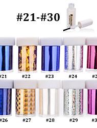 Dedo / Dedo del Pie - Abstracto - Calcomanías de Uñas 3D - PVC - 10pcs nail foils + 1pcs nail foil glue - 4cmX120cm each piece - ( cm )