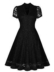 Women's Party/Cocktail Vintage Swing Dress,Solid V Neck Knee-length Short Sleeve Black Polyester Summer