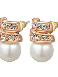 Stud Earrings Women's Imitation Pearl Earring Cubic Zirconia