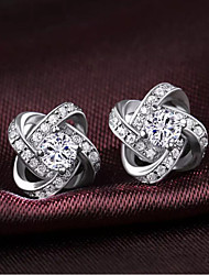 Earring Stud Earrings Jewelry Women Silver Plated 2pcs Silver