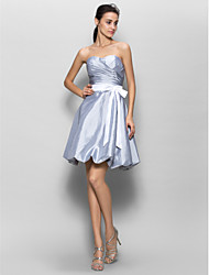 Lanting Knee-length Taffeta Bridesmaid Dress - Silver A-line Sweetheart