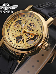 WINNER® Women's Hollow Style PU Analog Mechanical Wrist Watch (Black) Cool Watches Unique Watches Fashion Watch