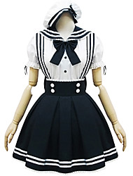 One-Piece/Dress / Maid Suits Classic/Traditional Lolita Lolita Cosplay Lolita Dress White / Black Patchwork Short Sleeve Short Length
