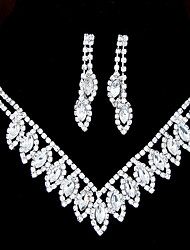 European Style Fashion Shiny Rhinestone Bridal Necklace Earring Set