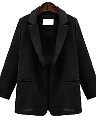 Women's Solid Red / Black Coat , Casual Long Sleeve Polyester