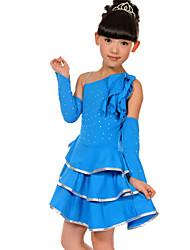 Latin Dance Outfits Children's Performance Spandex / Polyester Ruffles 3 Pieces Sleeves / DressSkirt length M:57cm / L:60cm / XL:63cm /