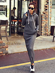 Women's Solid Black/Gray Dress , Casual/Maxi Hooded Long Sleeve