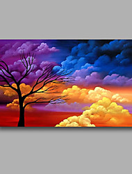Ready to Hand Stretched Hand-Painted Canvas Wall Art Modern Oil Painting  Trees Clouds Sunshine one Panel