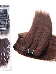 """anna cabelo reto de seda brasileiro tece 2pcs 8 """"virgens suaves extensões de cabelo retas # 2 do cabelo tecer pacotes de 90g / pack"""