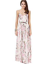 Women's Floral White Dresses , Sexy / Party V-Neck Sleeveless