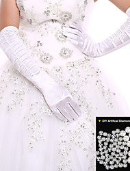 Black/White Ladies' Elbow Length Glove Party/Wedding Fingertips Glove Opera Length+DIY Pearl and Rhinestone