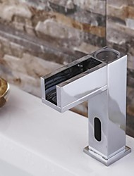 Contemporary Chrome Finish Waterfall Bathroom Sink Faucet  with Automatic Sensor Faucet(Cold)