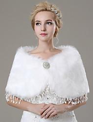 Wedding  Wraps / Fur Wraps Shawls Sleeveless Faux Fur Ivory Wedding / Party/Evening / Casual Rhinestone / Tassels Clasp