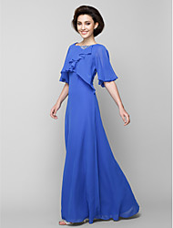 A-line Mother of the Bride Dress Floor-length Half Sleeve Chiffon with Crystal Detailing / Cascading Ruffles