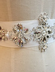 Satin Wedding / Party/ Evening Sash-Sequins / Beading / Rhinestone Women's 86 ½in(220cm) Sequins / Beading / Rhinestone