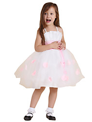Ball Gown Knee-length Flower Girl Dress - Polyester / Rayon Sleeveless