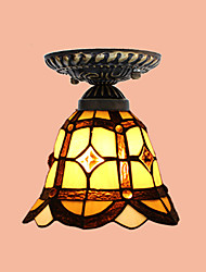 E27 220V 20*17CM 3-10㎡European Rural Creative Arts Stained Glass  Absorb Dome Lamp Led Light