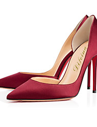 Women's Shoes Taffeta Stiletto Heel Heels / Pointed Toe Heels Party & Evening / Dress / Casual Red / Burgundy