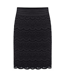 Women's Solid / Patchwork White / Black Skirts , Sexy Knee-length