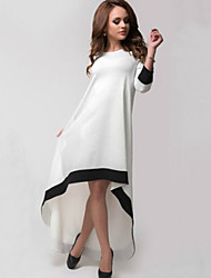 Dominic Women's Color Block White Dresses , Casual / Work Round Long Sleeve