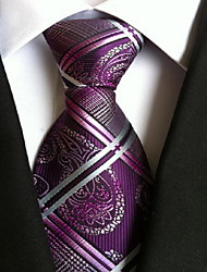 Men Wedding Cocktail Necktie At Work Purple White Cross Tie