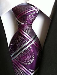 Men Wedding Cocktail Necktie At Work Purple White Cross Tie
