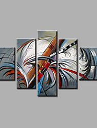 Stretched Framed Hand-Painted Oil Painting on Canvas Wall Art Modern Grey Blue Home Deco Abstract Five Panels