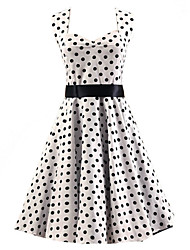 Women's White Black Polka Dot Dress , Vintage Halter 50s Rockabilly Swing Dress