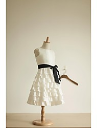 A-line Knee-length Flower Girl Dress - Taffeta Cupcake Sleevless