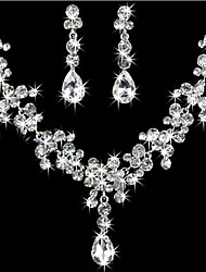 Bride Rhinestone Necklace Earrings Set (1Set)