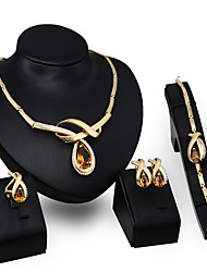 May Polly European fashion zircon crystal Pendant Necklace Bracelet Earring Ring Set