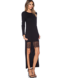 Women's Party/Cocktail Sexy Bodycon Dress,Patchwork Round Neck Above Knee Long Sleeve Black Fall