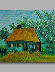 Ready to hang Stretched Hand-Painted Oil Painting Canvas Van Gogh repro Cottage and Woman with Goat