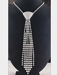 Lucky Doll Women's All Matching 925 Silver Plated Cubic Zirconia Tie Long Necklace