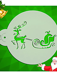 Santa's car Cake Stencils Decoration Plastic Cookie Moulds Border Decorating Pattern  ST-1296