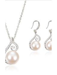 Fashion Pendant Pearl Jewelry Set include Necklace & Earrings for Wedding