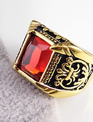 Antique Flower Patern Square Stone Dinner Rings 316L Stainless Steel Gold Plated Band Rings 1pc