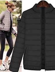 VOMIC    Women's Solid Color Black Coats & Jackets , Casual High-Neck Long Sleeve