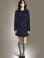Women's Patchwork Blue / Black Coat , Casual Long Sleeve Wool