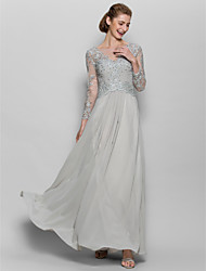 A-line Mother of the Bride Dress Floor-length Long Sleeve Chiffon / Lace with Appliques