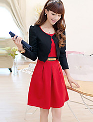 Women's Solid Red / Black Dress , Sexy Round Neck Long Sleeve