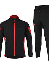 Arsuxeo Cycling Jacket with Pants Men's Long Sleeve Bike Jacket Clothing SuitsThermal / Warm Windproof Anatomic Design Waterproof Zipper