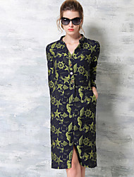 Women's Casual/Daily A Line Dress,Print V Neck Knee-length Long Sleeve Multi-color Cotton Fall