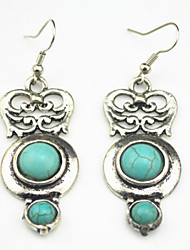 Vintage Look Antique Silver Round Turquoise Stone Drop Dangle Earring(1Pair)