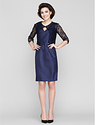 Sheath/Column Mother of the Bride Dress - Dark Navy Knee-length 3/4 Length Sleeve Lace / Taffeta