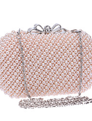 L.WEST Women High-grade Hand-made Pearl Bow Evening Bag