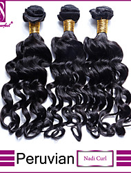 "3Pcs Lot 8""-30"" Peruvian Virgin Hair Nadi Curl Jet Black #1 Curl Human Hair Weave Bundles"