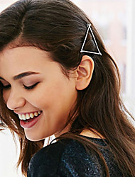 Women Metal Geometric Hollow Triangular Hairpin Clip Hair Accessories
