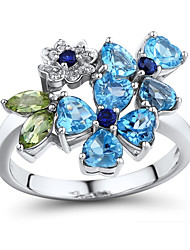 Sterling Silver set with Peridot\Topaz\Create Sapphire Flower Shape Fashion Right Hand Ring